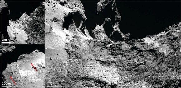 Top left: The Hathor cliff face is to the right in this view. The aligned linear structures can be clearly seen. The smooth Hapi region is seen at the base of the Hathor cliff. Boulders are prevalent along the long axis of the Hapi region. Bottom left and right: Crack in the Hapi region. The left panel shows the crack (indicated by red arrows) extending across Hapi and beyond. The right panel shows the crack where it has left Hapi and is extending into Anuket, with Seth at the uppermost left and Hapi in the lower left. (Credit: ESA/Rosetta)