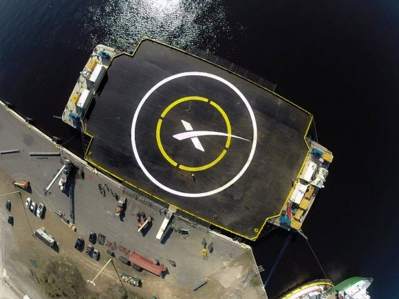The target for the Falcon-9 first stage later next week. Credit: SpaceX.