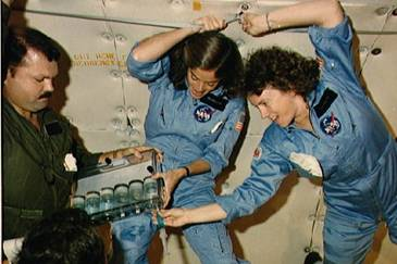 "Christa McAuliffe and Barbara Morgan practice teaching from space. Credit: ""The Lost Lessons"""