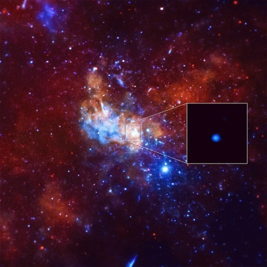 Astronomers have detected the largest X-ray flare ever from the supermassive black hole at the center of the Milky Way using NASA's Chandra X-ray Observatory. This event was 400 times brighter than the usual X-ray output from the black hole. Credit: NASA/CXC/Northwestern Univ/D.Haggard et al. Image Credit: NASA/CXC/Stanford/I. Zhuravleva et al.