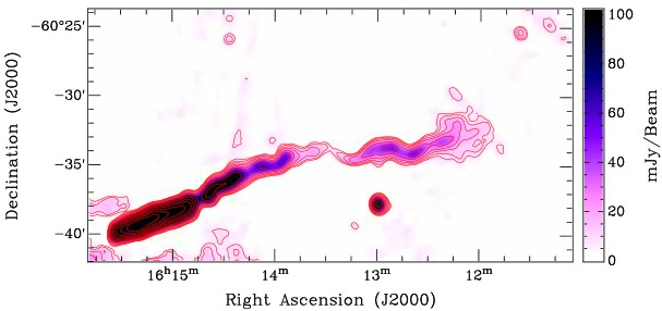 The `corkscrew' galaxy, ESO 137-G 007, in the Norma cluster at 843 MHz from the Sydney University Molonglo Sky Survey (SUMSS). Note the tightly wound helical path of the radio jet. Image courtesy of researchers.