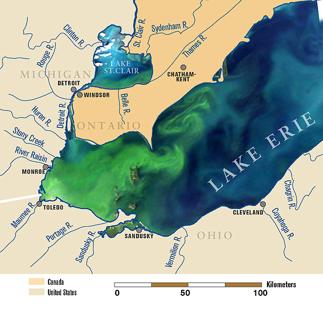 A satellite image of Lake Erie from September 2011, overlaid on a map of the lake and its tributaries. This image shows the algal bloom (green) covering the entire western basin and beginning to expand into the central basin. ARS scientists are monitoring phosphorus discharge from farms in surface runoff and tile drainage, so they can recommend best management practices to farmers. Photo by Michigan Sea Grant.