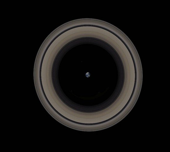 A graphic depicting Earth and Saturn's rings to scale. Credit: John Brady/Astronomy Central.