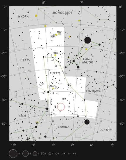 This chart of the southern constellation of Puppis (The Poop, part of the mythological ship Argo) shows most of the stars visible with the naked eye on a dark and clear night. The position of the strange cometary globule CG4 is marked, although this object is too faint to be seen visually and evaded detection by astronomers until the twentieth century. Credit: ESO, IAU and Sky & Telescope