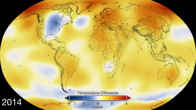 This color-coded map displays global temperature anomaly data from 2014. Image Credit: NASA's Goddard Space Flight Center