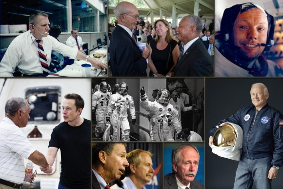 The legacy that Elon and SpaceX stand upon is a century old. The Ohio native, William Gerstenmaier, associate administrator for NASA Human Spaceflight and past program manager of ISS, like Musk and so many others, dreamed of space exploration from an early age. From top left, clockwise, Eugene Kranz, Michael Collins, Neil Armstrong, Edwin (Buzz) Aldrin, W. Gerstenmaier, Michael Griffin, NASA Administrator Charles Bolden shaking hands with Elon Musk, the Apollo 11 crew embarking on their famous voyage(center). (Photo Credits: NASA, SpaceX, Illustration, J.Schmidt/T.Reyes)
