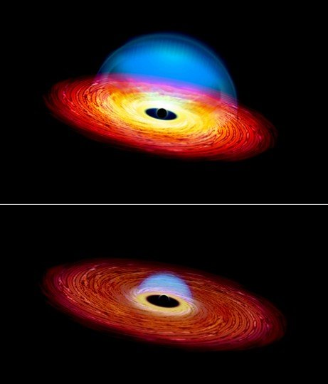 """This artist's rending shows """"before"""" and """"after"""" images of a changing look quasar. Illustration by Michael S. Helfenbein"""