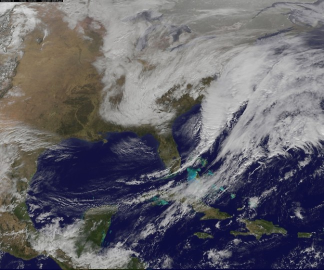 NOAA's GOES-East satellite captured the center of the developing Nor'easter located off North Carolina's Outer Banks on Jan. 26 in the image from 16:30 UTC (12:30 p.m. EST). Image Credit: NASA/NOAA Goes Project