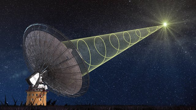A schematic illustration of CSIRO's Parkes radio telescope receiving the polarised signal from the new 'fast radio burst'. Credit: Swinburne Astronomy Productions.