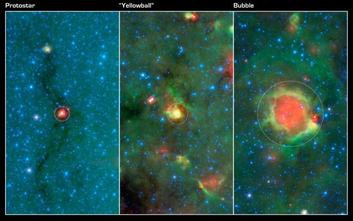 This series of images show three evolutionary phases of massive star formation, as pictured in infrared images from NASA's Spitzer Space Telescope. Image Credit: NASA/JPL-Caltech