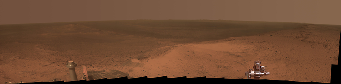 """This panorama is the view NASA's Mars Exploration Rover Opportunity gained from the top of the """"Cape Tribulation"""" segment of the rim of Endeavour Crater. The rover reached this point three weeks before the 11th anniversary of its January 2004 landing on Mars. Image Credit: NASA/JPL-Caltech/Cornell Univ./Arizona State Univ."""