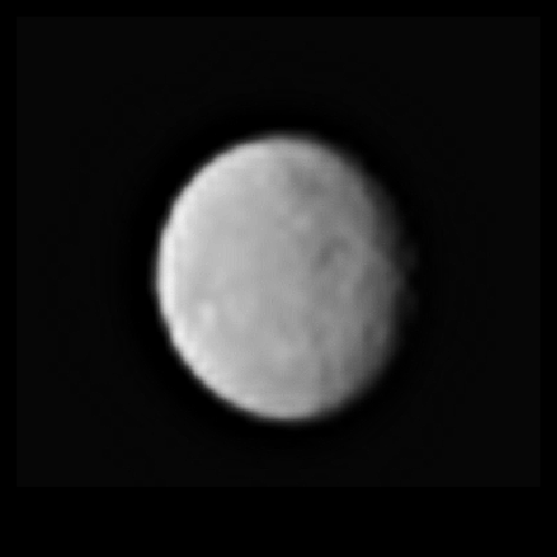 This processed image, taken Jan. 13, 2015, shows the dwarf planet Ceres as seen from the Dawn spacecraft. The image hints at craters on the surface of Ceres. Dawn's framing camera took this image at 238,000 miles (383,000 kilometers) from Ceres. Credit: NASA/JPL-Caltech/UCLA/MPS/DLR/IDA