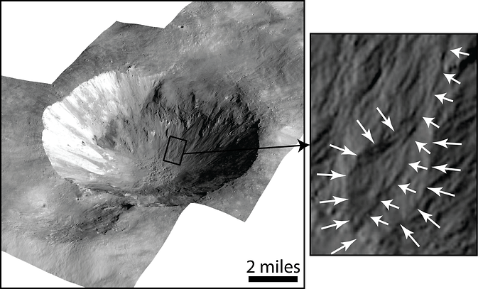This image shows Cornelia Crater on the large asteroid Vesta. On the right is an inset image showing an example of curved gullies, indicated by the short white arrows, and a fan-shaped deposit, indicated by long white arrows. Image Credit: NASA/JPL-Caltech/UCLA/MPS/DLR/IDA