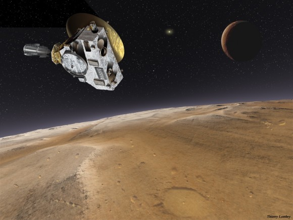 And artist's conception of New Horizons at Pluto. Credit: NASA/JPL/Thierry Lombry.