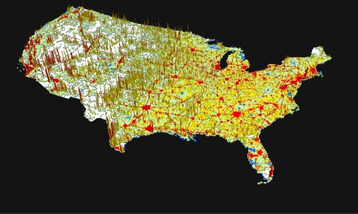 This 3-D visualization represents projected changes in U.S. population between 2010 and 2050 as predicted by a new Oak Ridge National Laboratory model. Areas seen in red indicate higher levels of population growth, whereas the vertical spikes signify population growth with new land development.