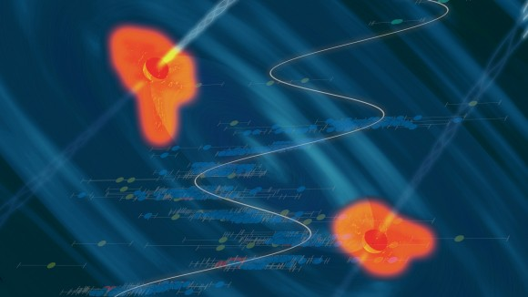 An artist's conception of a black hole binary in a heart of a quasar, with the data showing the periodic variability superposed. Image Credit: Santiago Lombeyda / Caltech Center for Data-Driven Discovery