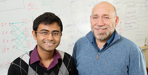 Illinois graduate student Subhro Roy (left) and professor Dan Roth developed software to help computers understand math concepts expressed in text. This will improve data accessibility, search and education. Photo by  L. Brian Stauffer