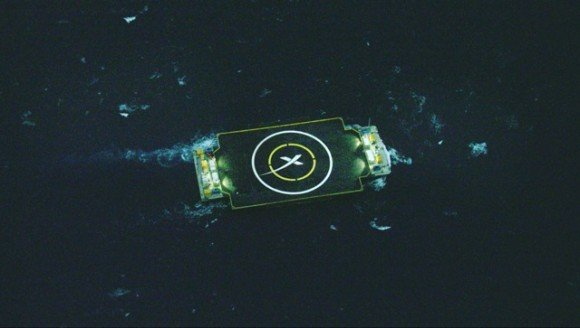 SpaceX drone ship sailing at sea to hold position awaiting Falcon 9 rocket landing. Credit: Elon Musk/SpaceX