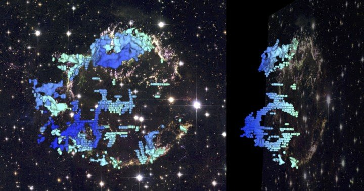 This composite image shows two perspectives of a three-dimensional reconstruction of the Cassiopeia A supernova remnant. This new 3-D map provides the first detailed look at the distribution of stellar debris following a supernova explosion. Such 3-D reconstructions encode important information for astronomers about how massive stars actually explode. The blue-to-red colors correspond to the varying speed of the emitting gas along our line of sight. The background is a Hubble Space Telescope composite image of the supernova remnant. D. Milisavljevic (CfA) & R. Fesen (Dartmouth). Background image: NASA, ESA, and the Hubble Heritage Team.