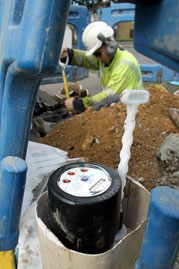 Economists examined water consumption of consumers using water meters.