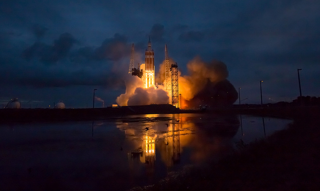 The United Launch Alliance Delta IV Heavy rocket with NASA's Orion spacecraft mounted atop, lifts off from Cape Canaveral Air Force Station's Space Launch Complex 37 at at 7:05 a.m. EST, Friday, Dec. 5, 2014, in Florida. Image Credit: NASA/Bill Ingalls