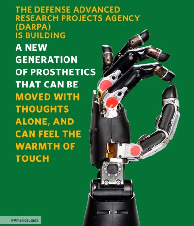 President Obama referred to DARPA's numerous advanced prosthetics programs in his 2015 State of the Union address.