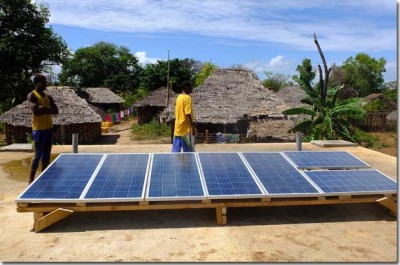 Solar Modules For A 700 W Microgrid in Kokota, Tanzania. Image credit: Permaculture Research Institute