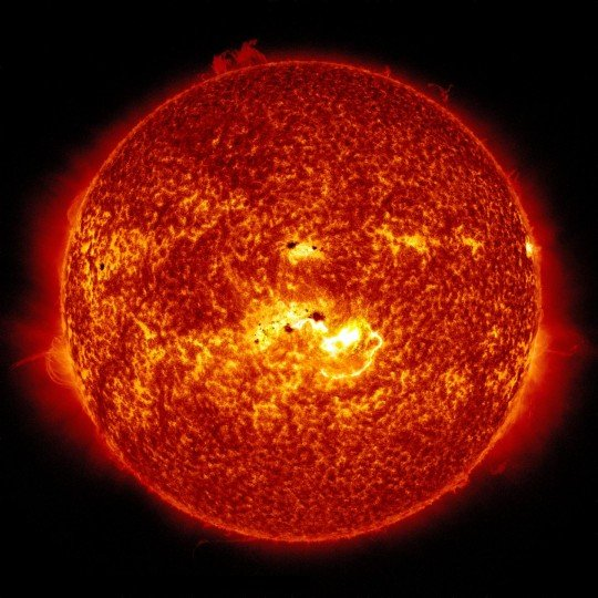 Sunspots, as seen in the center of this image, relay information on the sun's activity. Credit: NASA/SDO