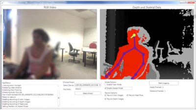 The ChronoSense recording tool captures (at left) the blurred RGB image as recorded from the Kinect. On the right, the depth image with overlaid joint and gaze estimation based on yaw, roll and pitch. Once the Start Logging button is pressed, the recording process starts and the data are streamed to a folder on the computer. After collection is complete, the data can be reviewed, visualized and analyzed in the companion ChronoViz software application.