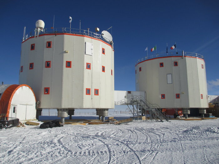Concordia research base in the Antarctic. During summer aircraft take off on an almost daily basis. Concordia is a hubbub of activity as researchers from disciplines as diverse as astronomy, seismology, human physiology and glaciology descend to work in this unique location. For the rest of the year, around 14 crewmembers remain to keep the station running during the cold, dark winter months. Copyright ESA/IPEV/PNRA–E. Kaimakamis