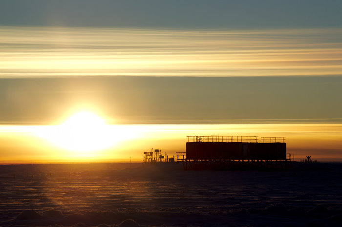 Sunset at Concordia research base in Antarctica. During winter the Sun stays below the horizon for around four months. During the Antarctic summer some 60 scientists live and work on the base conducting research on the icy plateau 3200 m above sea level. When winter comes, they leave a skeleton crew of up to 15 to keep the base running and fend for themselves for nine months – no help can be flown in as temperatures drop to –80ºC. Copyright ESA/IPEV/PNRA–E. Kaimakamis