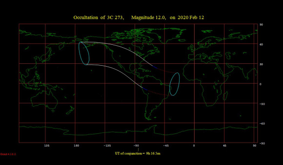 The February 12th 2020 occultation of quasar 3C 273 by the Moon. Credit: Occult 4.0.