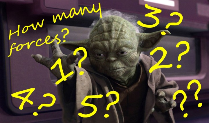 Unlike in Star Wars, where there was but one force with a light and dark side, the number of fundamental forces is a much murkier question.