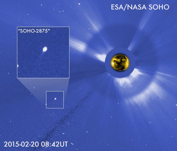 Comet SOHO-2875 survived its close passage of the Sun and may make an appearance in the evening sky soon. This photo montage was made using the coronagraph (Sun-blocking device) on SOHO. Click to watch a movie of the comet. Credit: NASA/ESA
