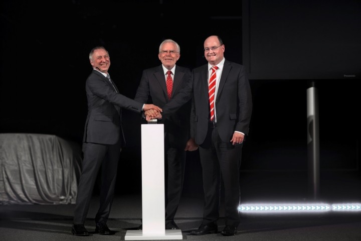 Audi's chiefs – Ulrich Hackenberg, Ricky Hudi and Wolfgang Huhn – opening the biggest automotive light tunnel in Europe, image courtesy of audi-mediaservices.com