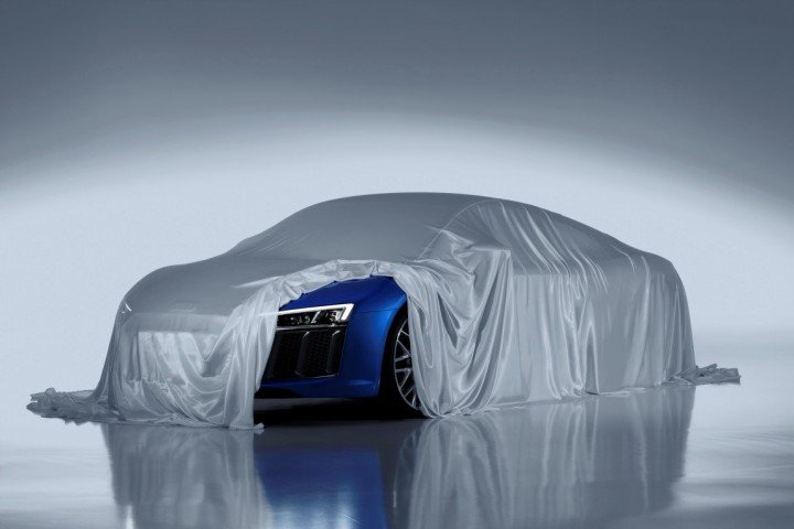 Teaser shot of new Audi R8 with high-tech headlight visible, image courtesy of audi-mediaservices.com