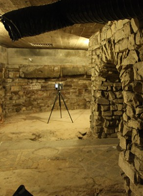 Hess and Yeager used a laser scanner to document the excavation under the Baptistery floor and also visualized, for the first time, an unexcavated portion of Roman ruins from the 5th century A.D.