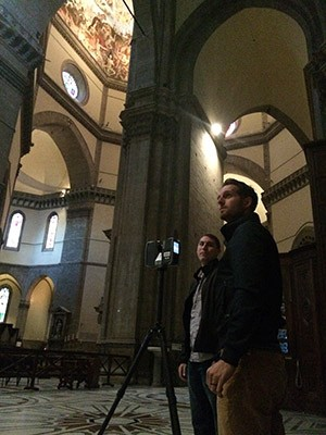 CISA3 students Mike Hess (left) and Mike Yeager constructed a comprehensive 3D model of the interior, exterior and facade of the 5,500 square foot Florence Baptistery as well as certain areas of the Duomo.