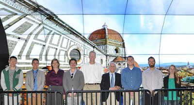 Members of the CISA3 team, including CISA3 Director Falko Kuester (in white shirt), met with Franco Lucchesi (in black jacket) to demonstrate their visualization of the Florence Duomo and Baptistery on the QI WAVE.
