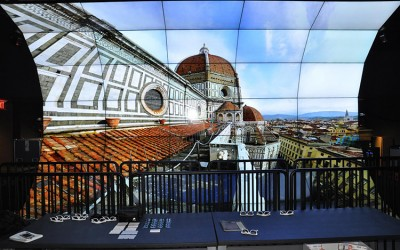 A visualization of the Florence Duomo as seen on the QI WAVE virtual reality tool, a 70 megapixel resolution virtual reality environment that provides an unprecedented degree of presence.