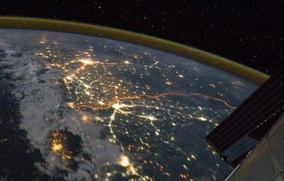 This picture shows the illuminated man-made border between India and Pakistan,the line snaking through the landscape, as seen from the International Space Station on August 21, 2011. Of the hundreds of clusters lights, the largest are the capital cities of Islamabad, Pakistan, and New Delhi, India. Credit: NASA/Ron Garan