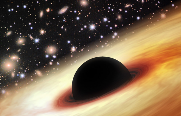 An artist's impression of a quasar with a supermassive black hole in the distant universe. (Image: Zhaoyu Li/NASA/JPL-Caltech/Misti Mountain Observatory)