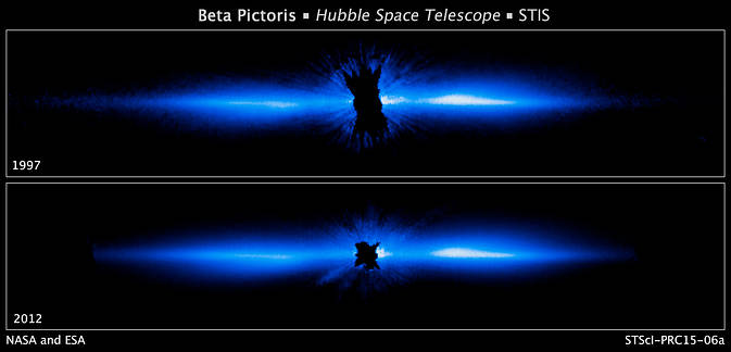 The 2012 image (bottom) is the most detailed picture to date of a large, edge-on, gas-and-dust disk encircling the 20-million year-old star Beta Pictoris. The 1997 Hubble image (top) shows the disk's dust distribution has barely changed over 15 years. Image Credit: NASA, ESA, University of Arizona