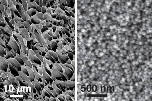 Scanning electron microscopy images, showing the structure of new hydrogels made of nanoparticles interacting with long polymer chains, courtesy of the researchers/MIT
