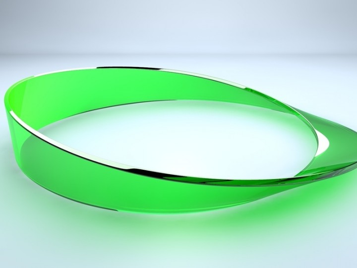 Single-sided strip: A Möbius strip is twisted so that it has only one surface and one edge. © Peter Banzer / MPI for the Science of Light
