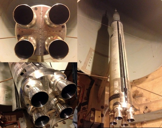 A 2-percent scale model of the Space Launch System core stage RS-25 engines, in the pictures at left, and a model of the SLS without the twin boosters is used for nominal, core-stage-only testing at CUBRC Inc. Image Credit: NASA/MSFC