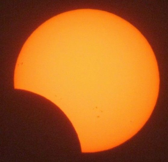 The partial solar eclipse on Nov. 2, 2013 at its peak over Israel. Credit and copyright: Gadi Eidelheit.