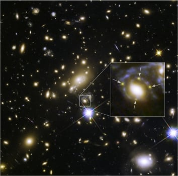 Astronomers using NASA's Hubble Space Telescope have spotted, for the first time, a distant supernova split into four images (above). The discovery, and subsequent analysis by a research team that includes NYU Physicist Or Graur, will help scientists better understand the amount and distribution of dark matter in this part of the universe. Image courtesy of NASA, ESA, and S. Rodney (JHU) and the FrontierSN team; T. Treu (UCLA), P. Kelly (UC Berkeley) and the GLASS team; J. Lotz (STScI) and the Frontier Fields Team; M. Postman (STScI) and the CLASH team; and Z. Levay (STScI)