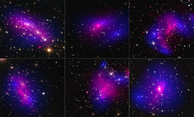 Here are images of six different galaxy clusters taken with NASA's Hubble Space Telescope (blue) and Chandra X-ray Observatory (pink) in a study of how dark matter in clusters of galaxies behaves when the clusters collide. A total of 72 large cluster collisions were studied. Image Credit: NASA and ESA