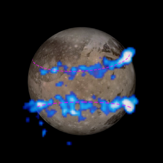 NASA Hubble Space Telescope images of Ganymede's auroral belts (colored blue in this illustration) are overlaid on a Galileo orbiter image of the moon. The amount of rocking of the moon's magnetic field suggests that the moon has a subsurface saltwater ocean. Image Credit: NASA/ESA